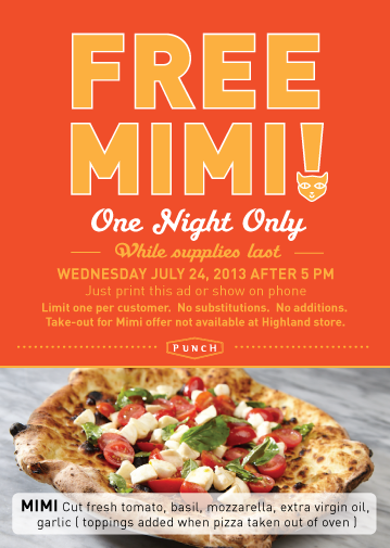 free mimi punch pizza