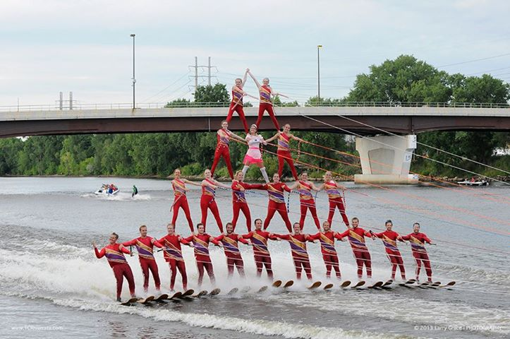 water ski show with four level pyramid