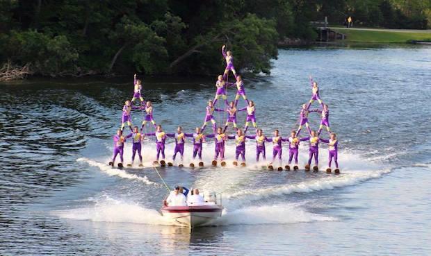 water ski show with three pyramids