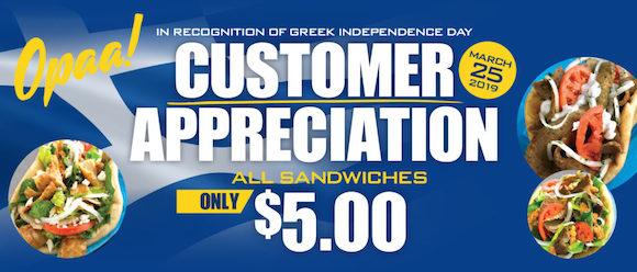Dinos Gyros Customer Appreciation