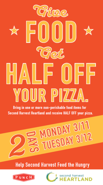 Punch Pizza half off with food donation