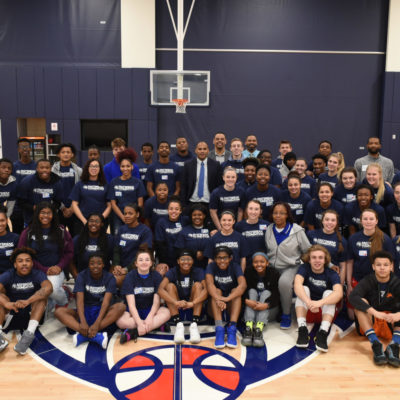 Group photo of children participating in free Sanneh Foundation basketball camp