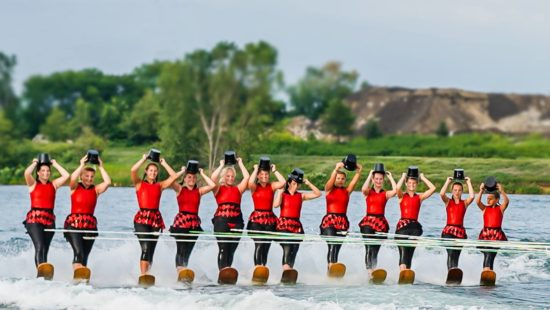 water ski show with top hats