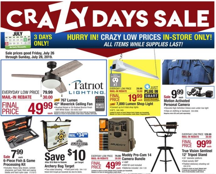 Menards Crazy Days Sale 7/26 - 7/28/19 – EIGHT Free After