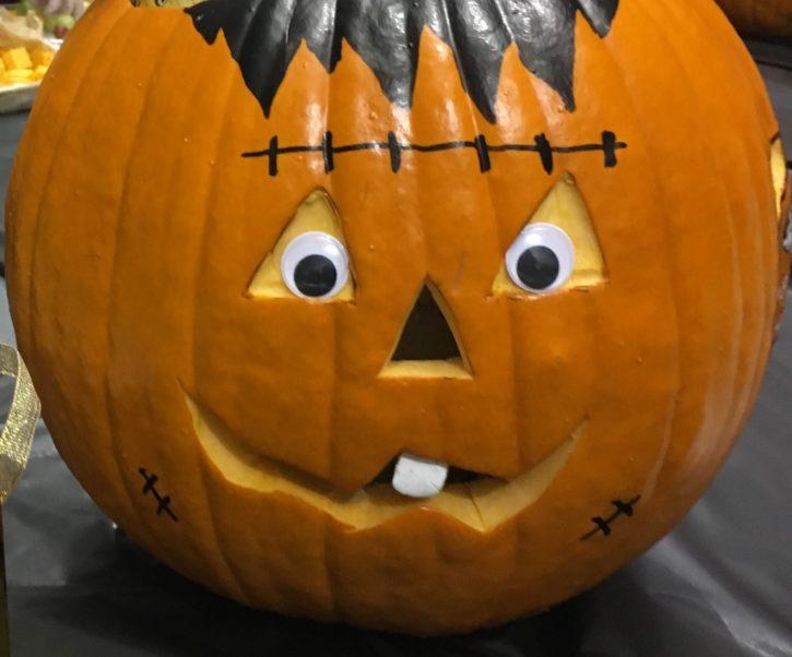 Frankenstein jack-o-lantern with googly eyes