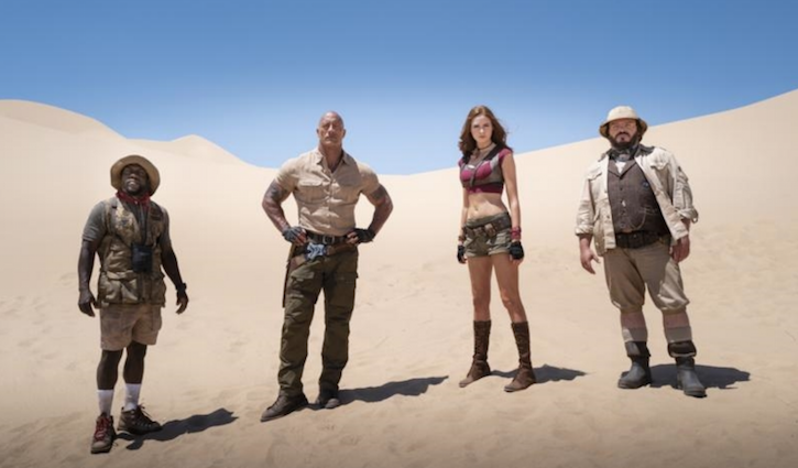 Jumanji II Kevin Hart, Dwayne Johnson, Karen Gillan and Jack Black