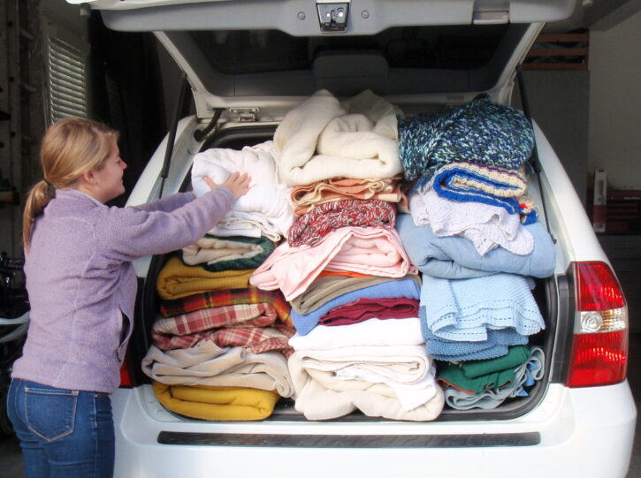 Blanket donations in back of SUV