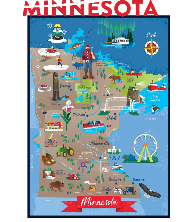 Drawing of Minnesota Map