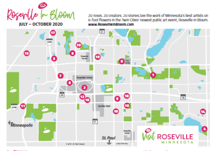 Roseville in Bloom Map