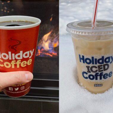 Holiday hot coffee iced coffee