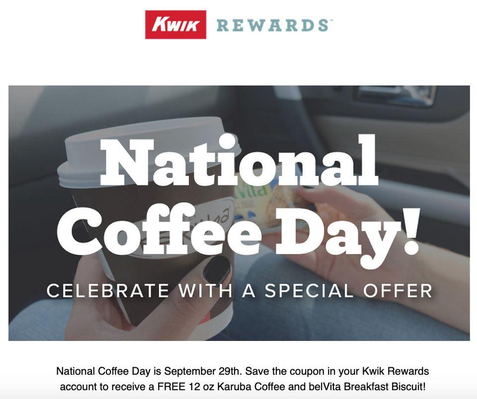 Kwik Trip National Coffee Day Freebie