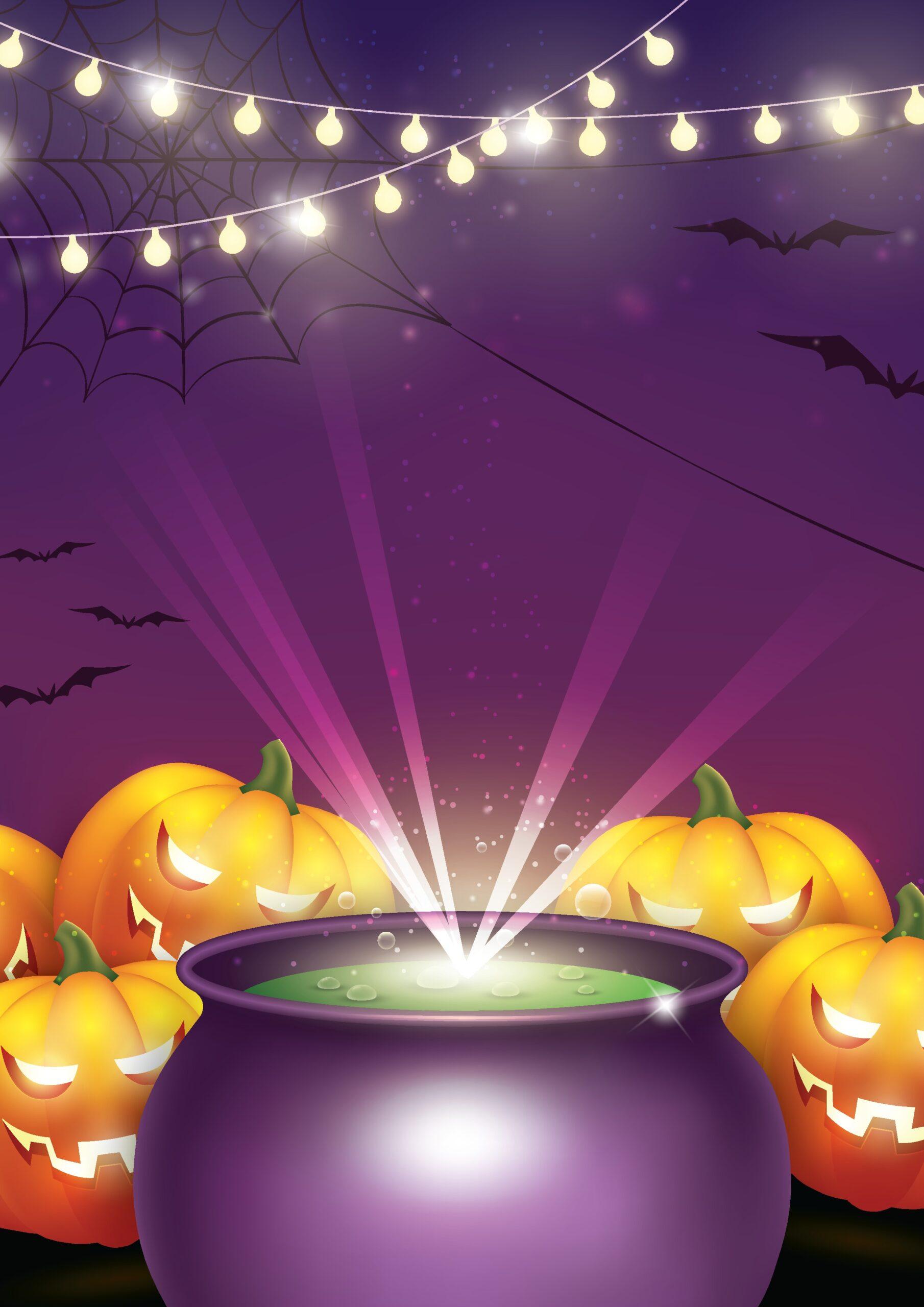 cauldron with jack-o-lanterns and string lights
