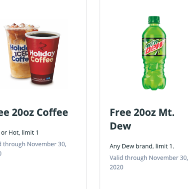 Free Coffee and Mountain Dew at Holiday
