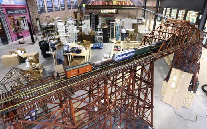 model train in Burlington Station Twin Harbors