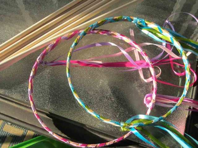 Hoops and Sticks Decorated with Ribbons