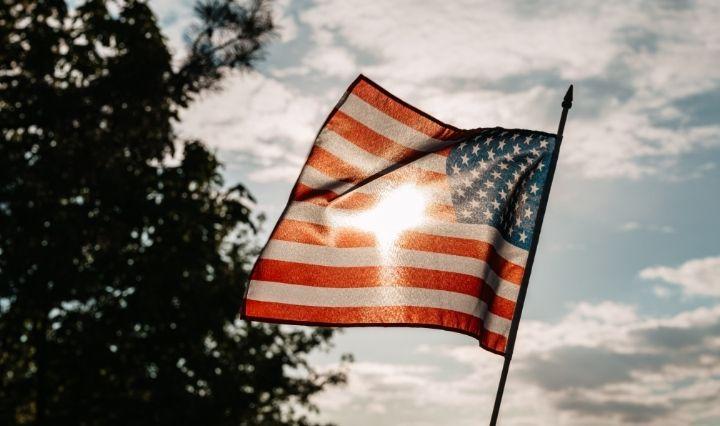 American Flag Blowing in Wind