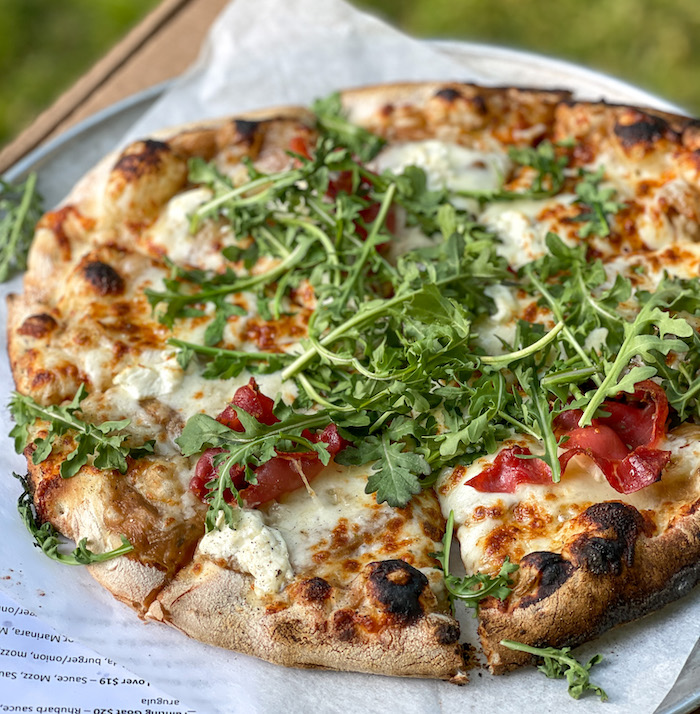 wood fired pizza with goat cheese