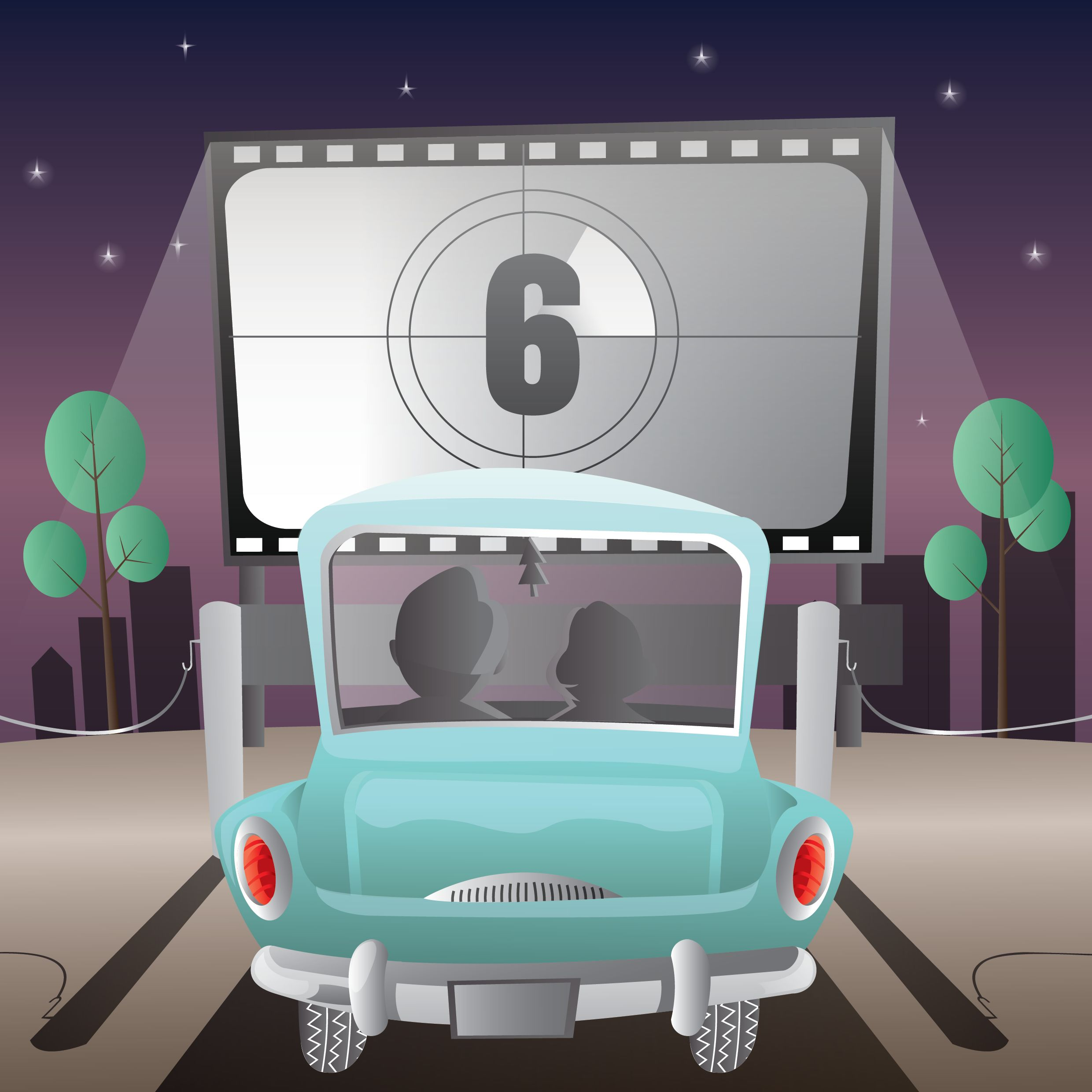 cartoon drawing of couple in car at drive-in movie