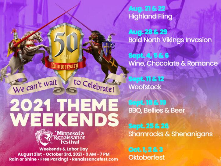 Minnesota Renaissance Festival Theme Weekends 2021