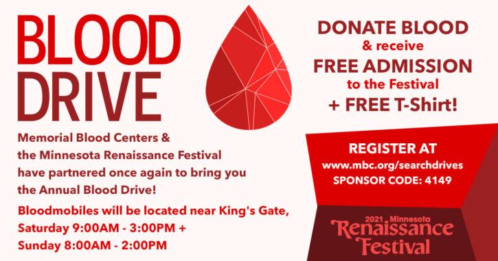 Minnesota Renaissance Festival Blood Drive Free Admission