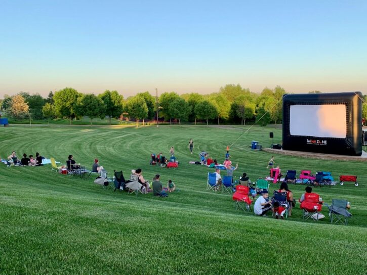 Crowd watching FREE Outdoor Movies in the Park